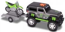 TOYSTATE - Terénní vozidlo Jeep s přívěsem a motorkou Kawasaki