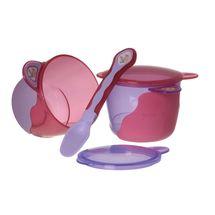 VITAL BABY - První dětská miska s lžičkou - fialová / růžová