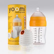 Yoomi - set 2 v 1 - 240 ml kojenecká láhev + ohřívač žlutý