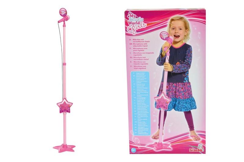 SIMBA - MMW Růžový mikrofon se stojanem, i pro MP3