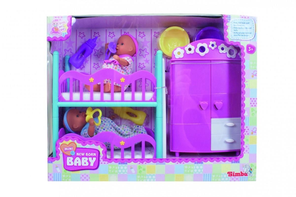 SIMBA - New Born Baby Dětská Izbaby Annabell + 2 Panenky (Pije + čůrá) 12 Cm