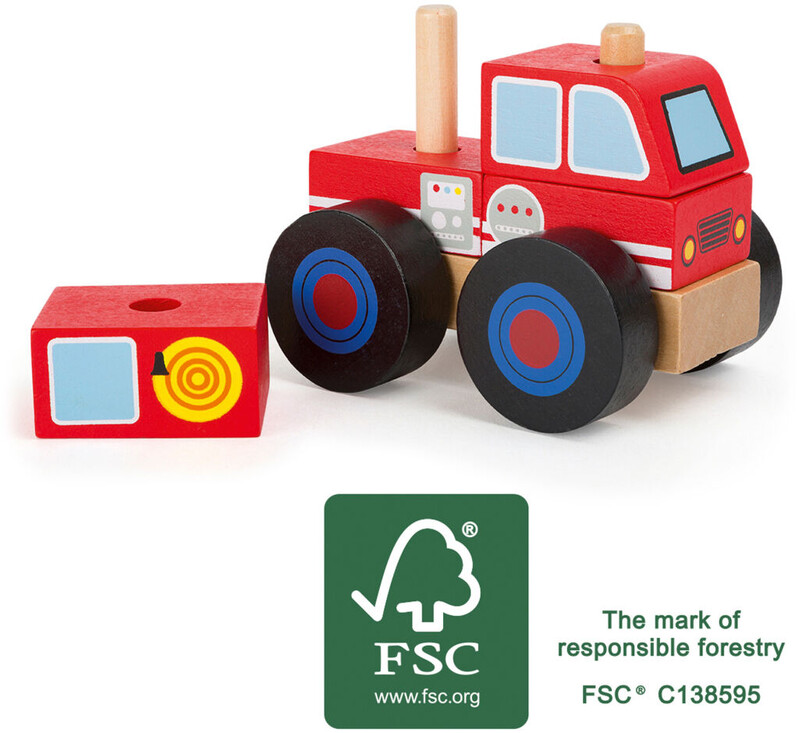 SMALL FOOT - Dřevěné skládací auto hasiči