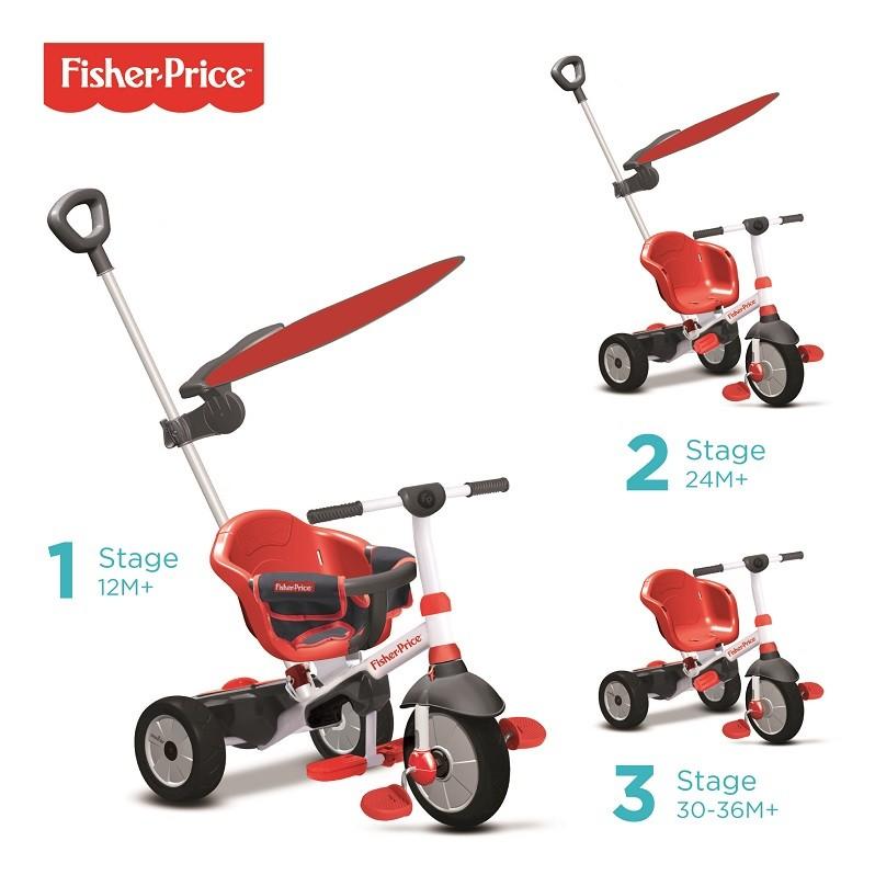 SMART TRIKE - tříkolka Fisher Price 325 Charm Plus 3v1 Červená