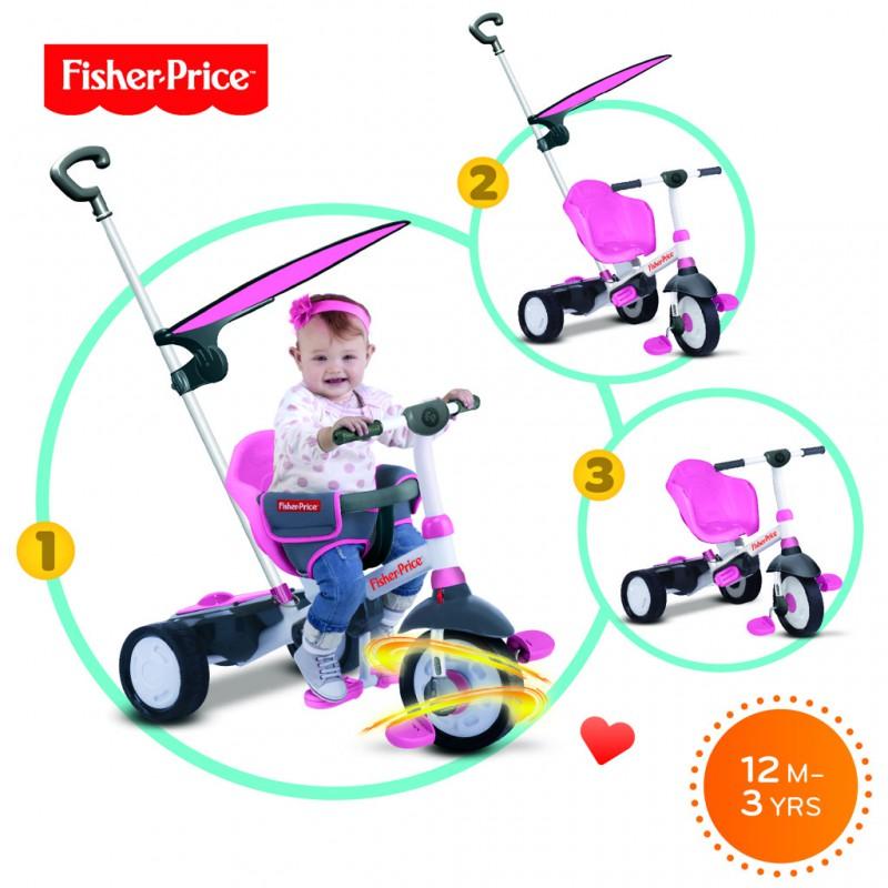 SMART-TRIKE - tříkolka Fisher Price 325 Charm Plus 3v1 Růžová