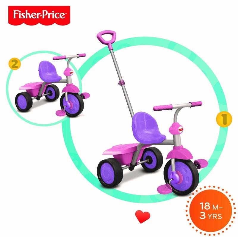 SMART TRIKE - tříkolka Fisher Price 335 Glee 2v1 Růžovo-fialová