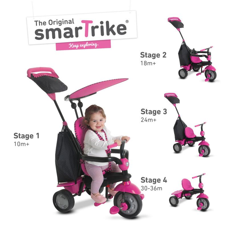 SMART TRIKE - Tříkolka Glow 4 v 1, růžová