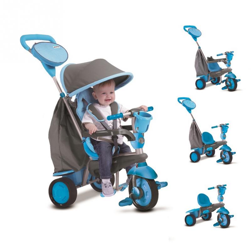 SMART TRIKE - Tříkolka Swing Touch Steering 4v1 modro šedá