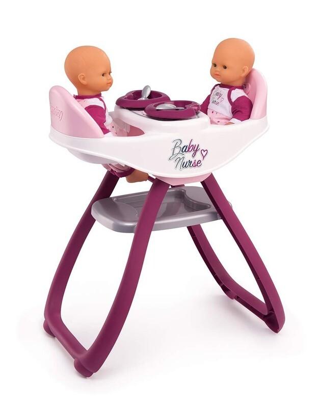 SMOBY - 220344 Židle Baby Nurse na krmení pro panenky dvojčata