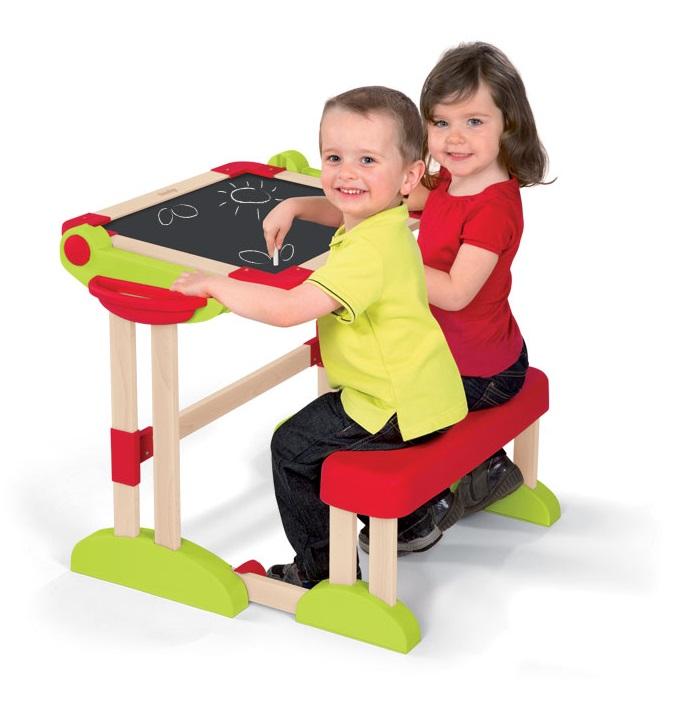 SMOBY - 28112 Dětská dřevěná lavice Activity s objstrannou magnetickou tabulí