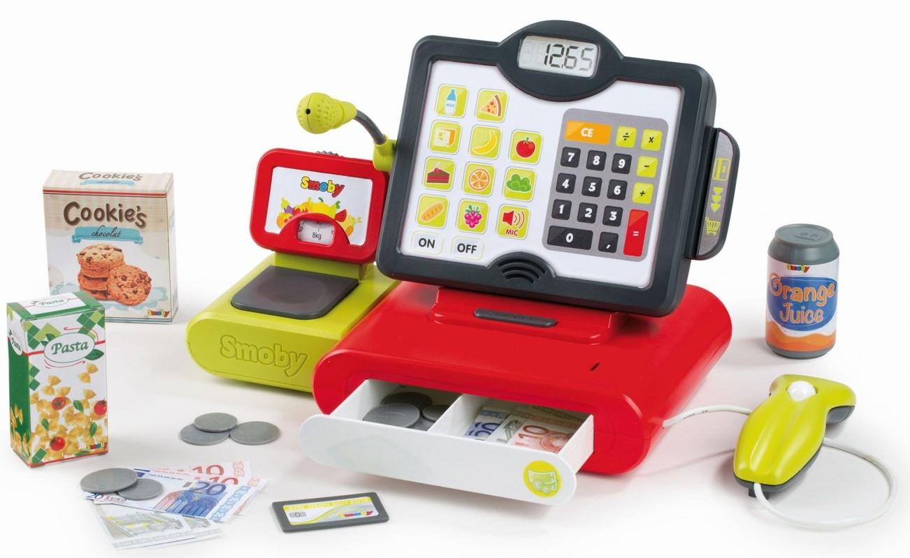 SMOBY - 350102 Elektronická pokladna s dotykovou obrazovkou, zvukem a čtečkou kódů