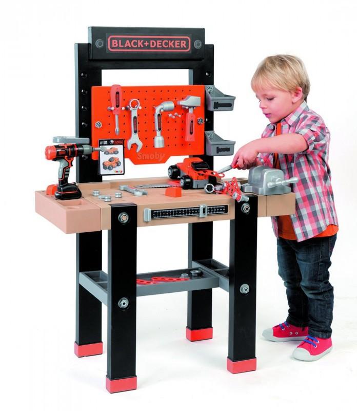 SMOBY - 360701 Black & Decker pracovní stůl Ultimate s mechanickou vrtačkou