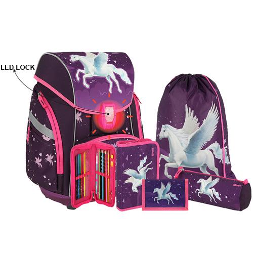 SPIRIT - Školní aktovka - 6-dílný set, PRO LIGHT PREMIUM 3D Horse, LED