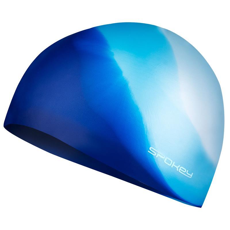 SPOKEY - ABSTRACT-Plavecká čepice silikonová bílá s modrým v zadu