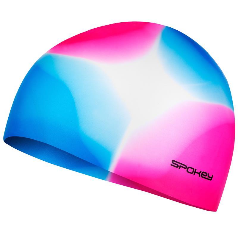 SPOKEY - ABSTRACT-Plavecká čepice silikonová růžovo-modrá