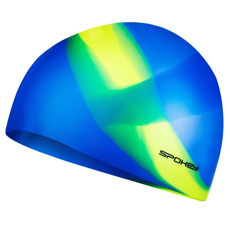 SPOKEY - ABSTRACT-Plavecká čepice silikonová modrá se žlutým pruhem