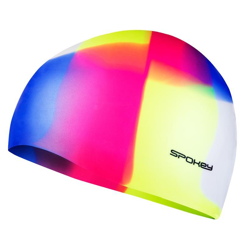SPOKEY - ABSTRACT-Plavecká čepice silikonová žluto-růžovo-modrá kostka