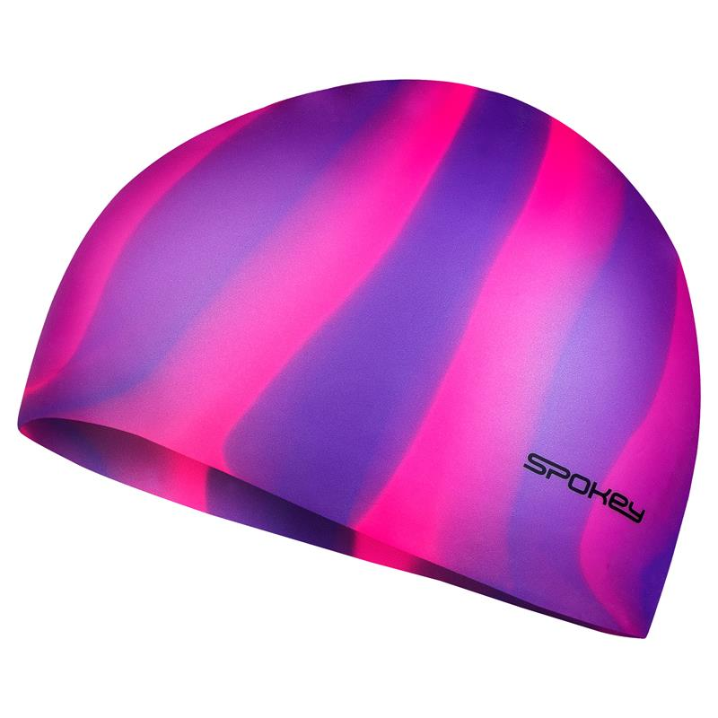 SPOKEY - ABSTRACT-Plavecká čepice silikonová fialovo-růžové pruhy