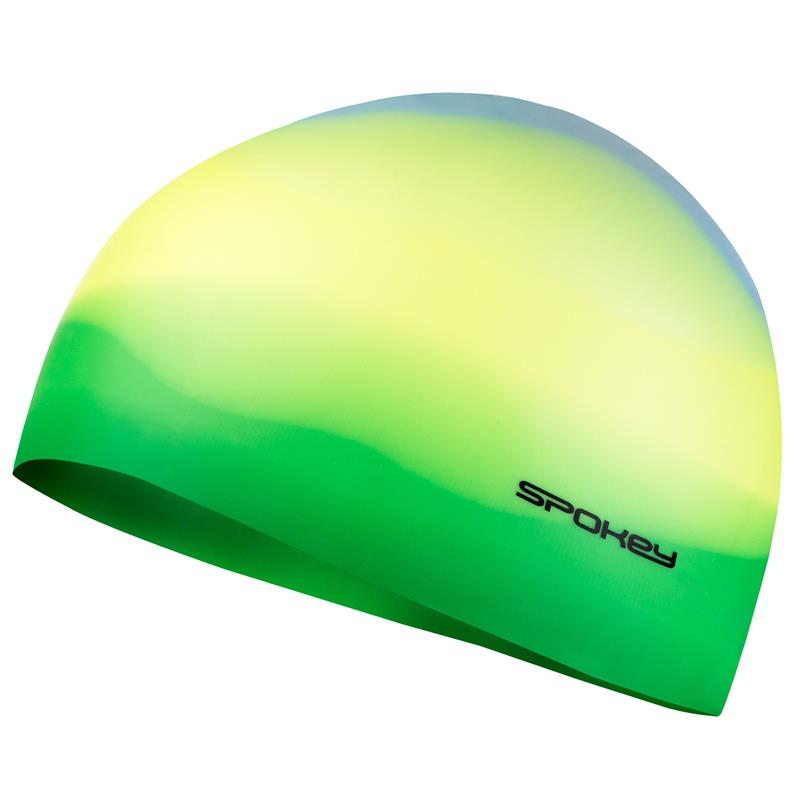 SPOKEY - ABSTRACT-Plavecká čepice silikonová žlutá se zeleným okrajem