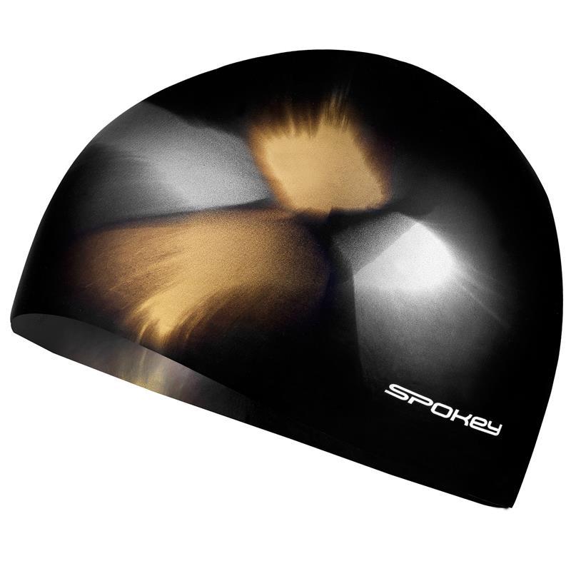 SPOKEY - ABSTRACT-Plavecká čepice silikonová hnědo-žlutá