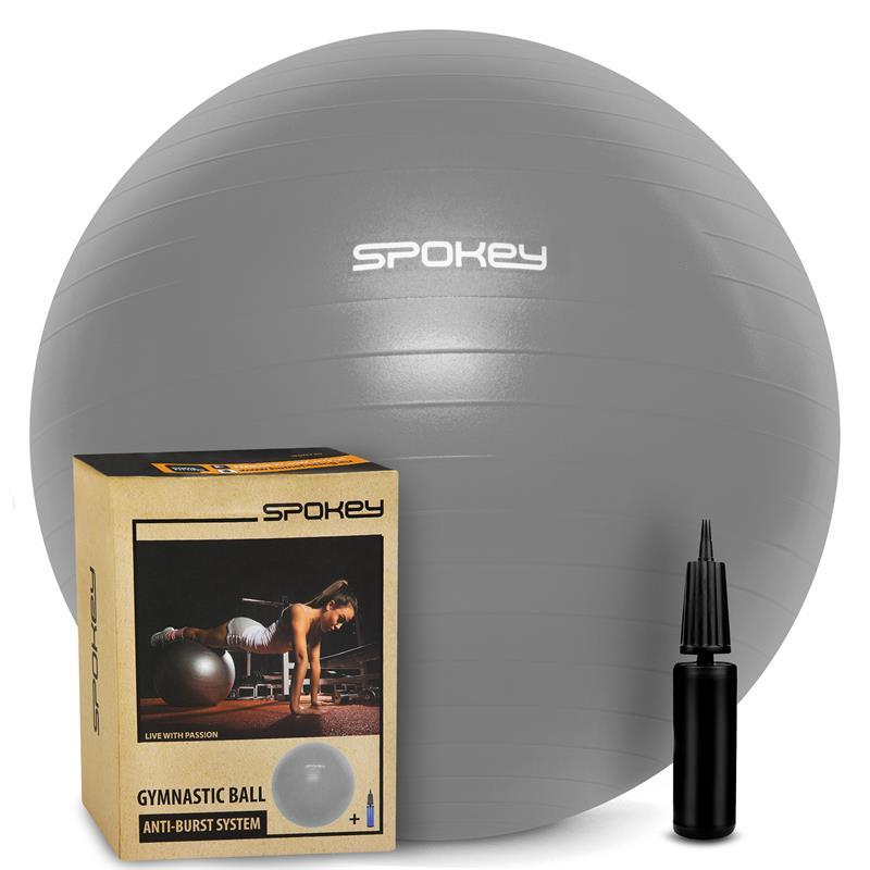 SPOKEY - FITBALL III- Gymnastický míč 65 cm včetně pumpičky šedý