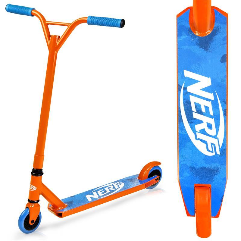 SPOKEY - HASBRO STRIKE Koloběžka freestyle, kolečka 100 mm, zn. NERF, oranžovo-modrá