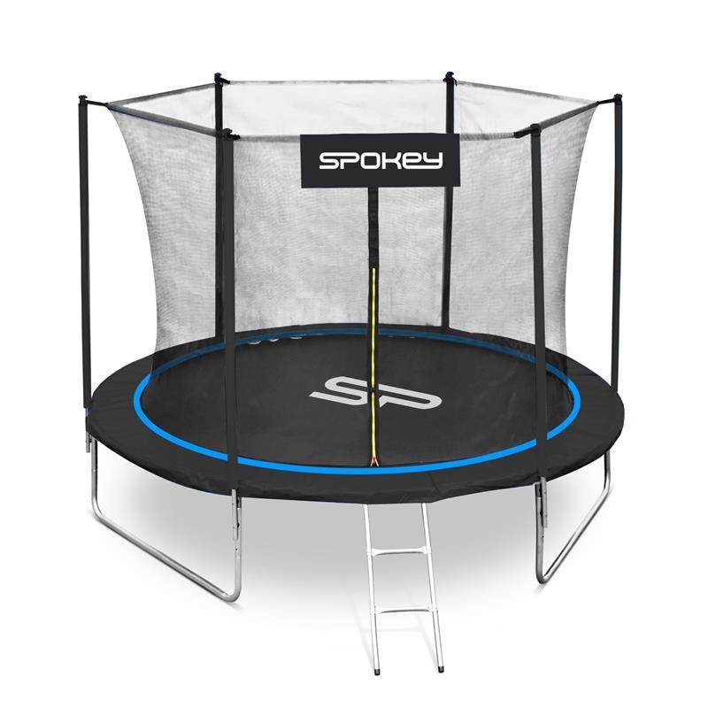 SPOKEY - JUMPER Trampolína černo-modrá, průměr 244 cm, včetne ochranné sítě a žebříku