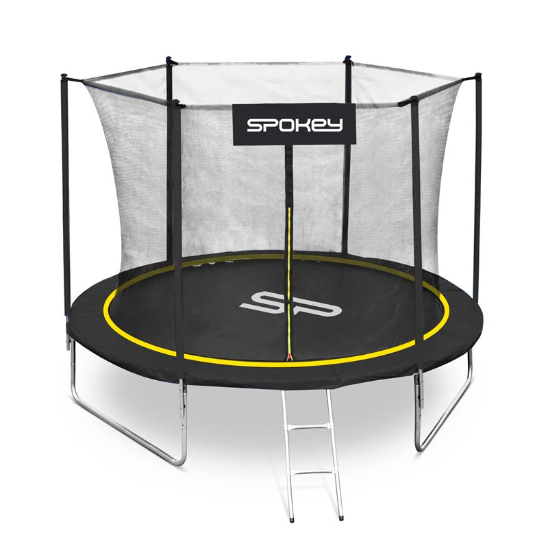 SPOKEY - JUMPER Trampolína černo-žlutá, průměr 244 cm, včetne ochranné sítě a žebříku