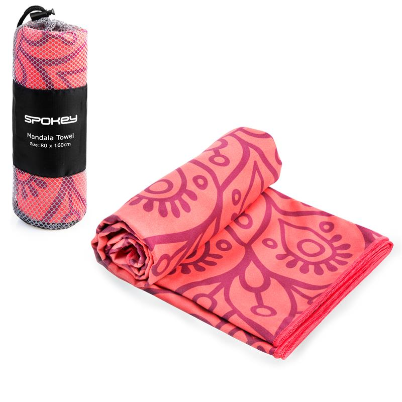 SPOKEY - MANDALA Rychleschnoucí plážový ručník lososový, 80x160cm