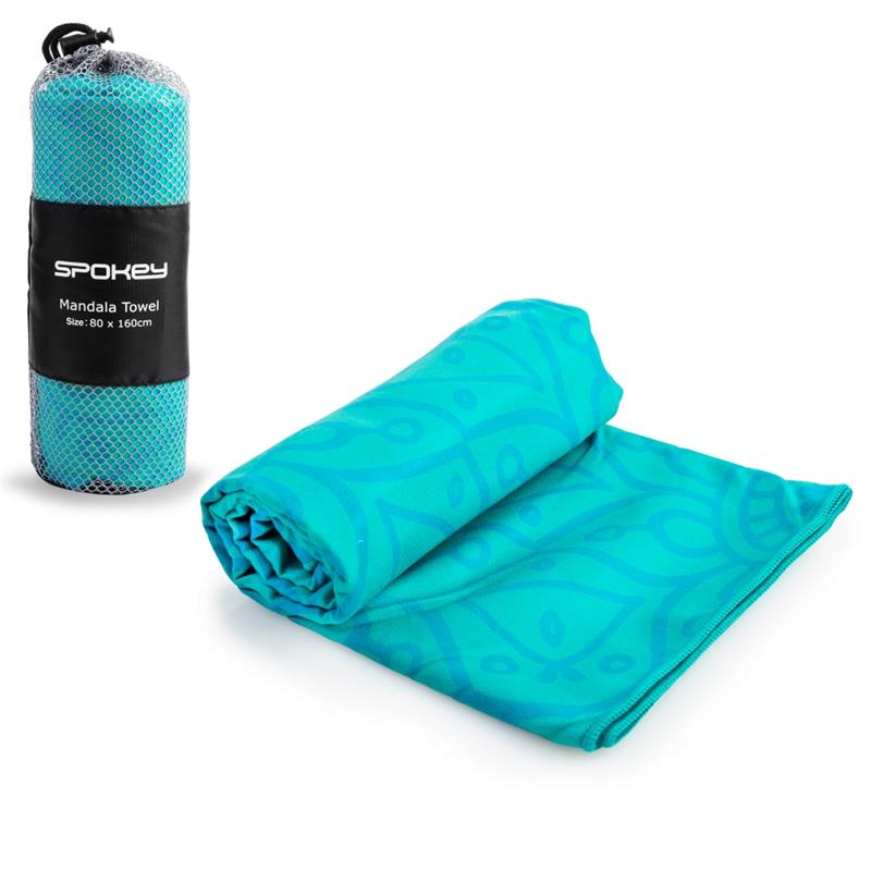 SPOKEY - MANDALA Rychleschnoucí plážový ručník tyrkysový, 80x160cm