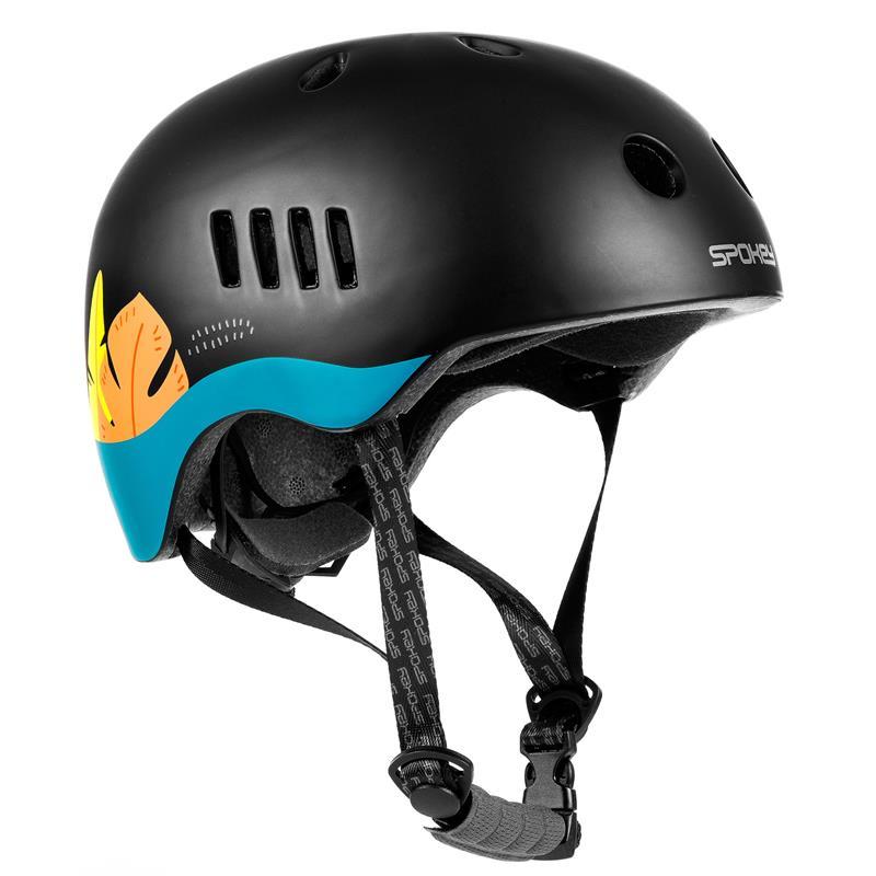 SPOKEY - PUMPTRACK Juniorská cyklistická BMX přilba IN-MOLD, 54-58 cm, černo-modrá