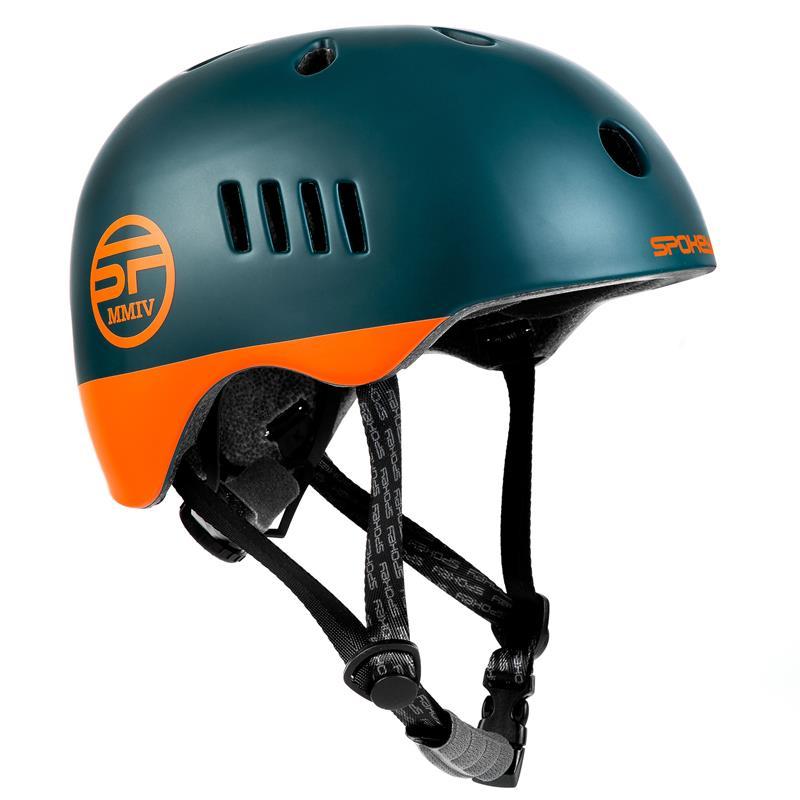 SPOKEY - PUMPTRACK Juniorská cyklistická BMX přilba IN-MOLD, 54-58 cm, modro-zelená