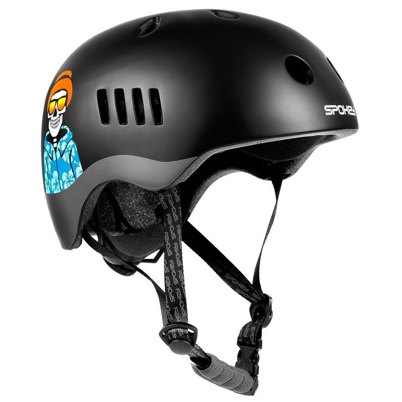 SPOKEY - PUMPTRACK Juniorská cyklistická BMX přilba IN-MOLD, 58-61 cm, černo-šedá