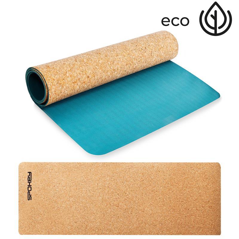 SPOKEY - SAVASANA jóga podložka na cvičení korková, tyrkys 3 mm