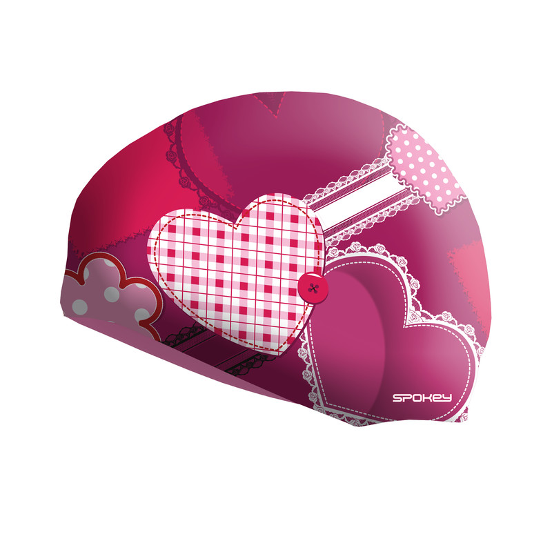 f1de18a3984 SPOKEY - STYLO Junior Dětská plavecká čepice růžová srdce