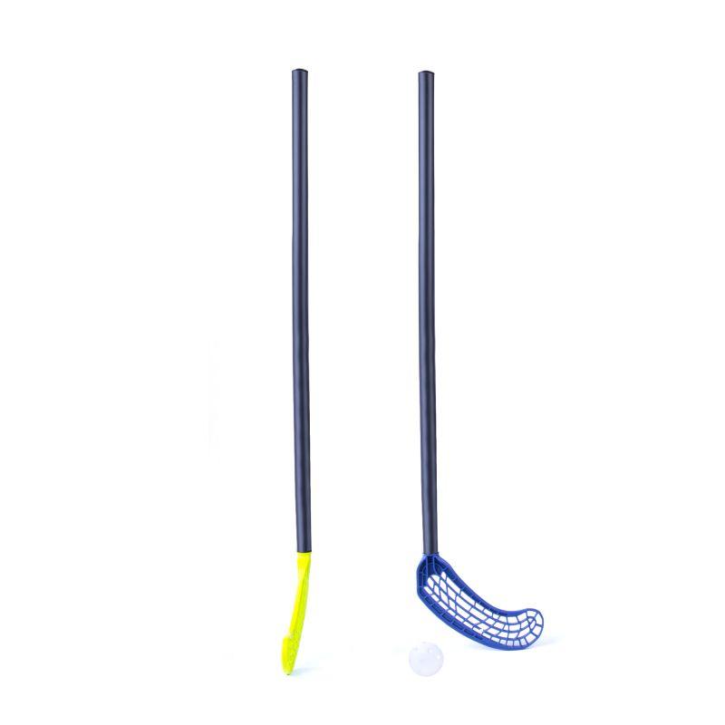 SPOKEY - UNI SET 2 florbalový set junior 2 hokejky /žlutá, modrá/ + míček, profesionální čepel