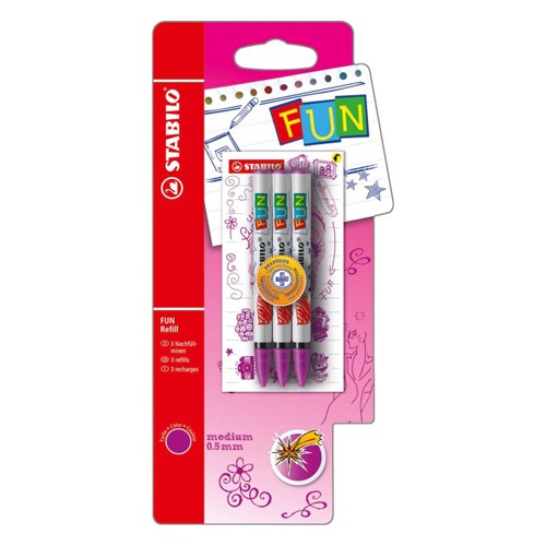 STABILO - Náplň do kuličkového pera FUN 0,5mm / 3ks růžová