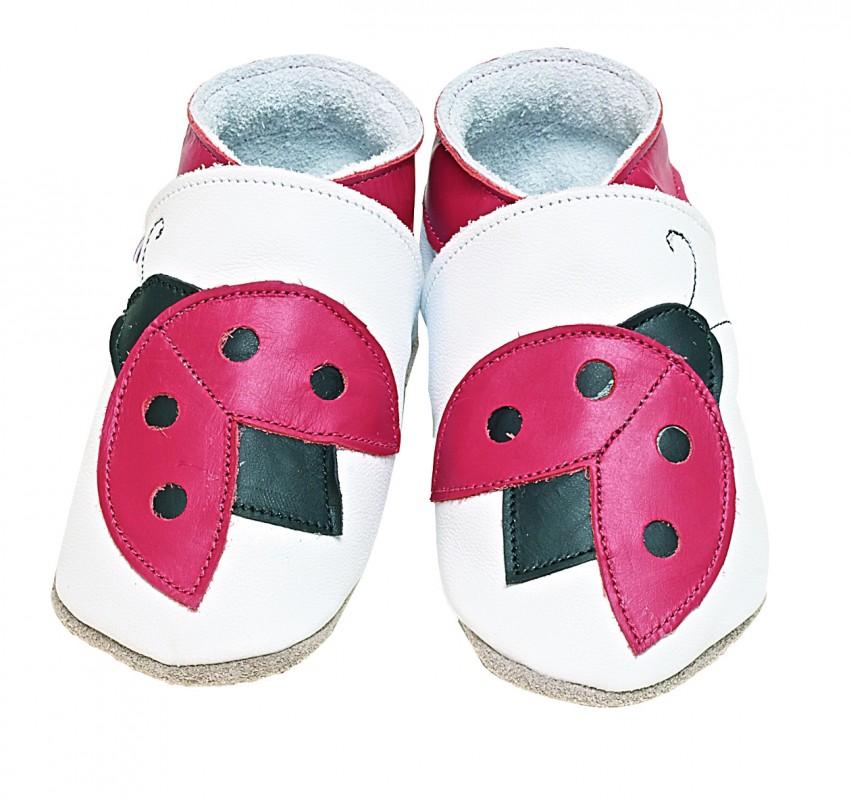 Starchild - Kožené botičky - Ladybug White - velikost M (6-12 měsíců)