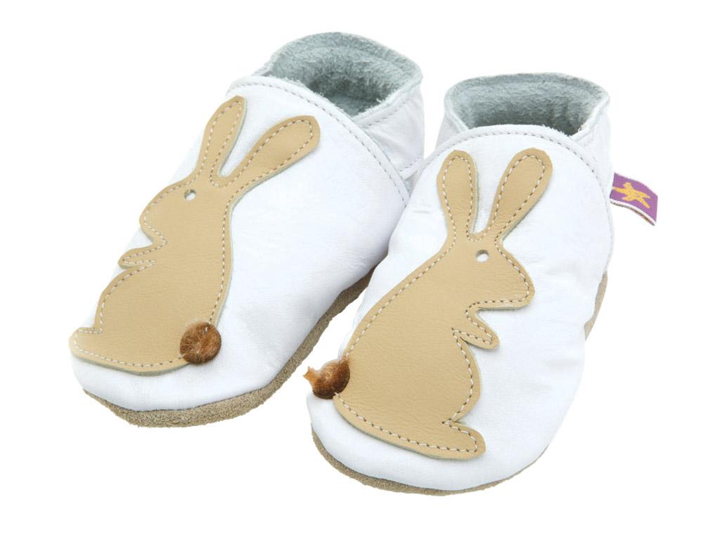 Starchild - Kožené botičky - Rabbit White / Caramel - velikost M (6-12 měsíců)