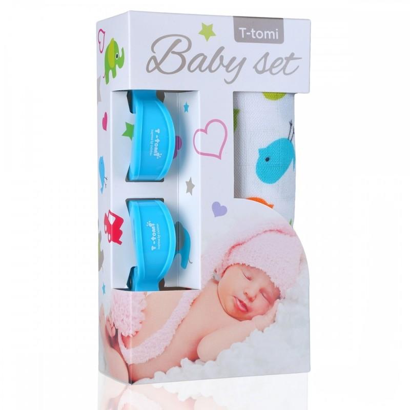 T-TOMI - Baby set - bambusová osuška birds / ptáčci + kočárkový kolíček blue / modrá