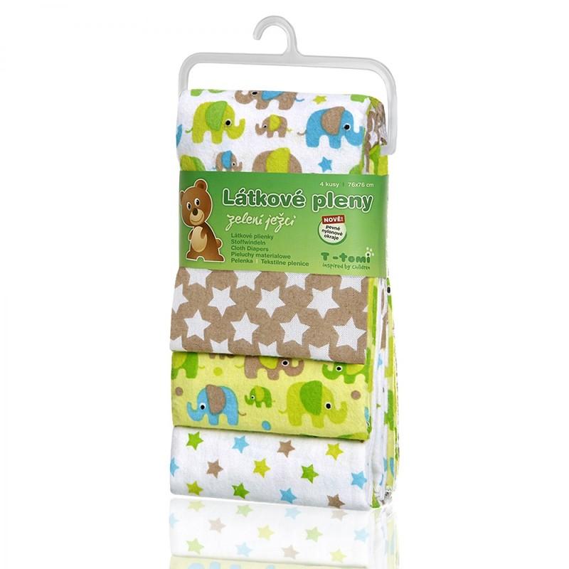 T-TOMI - Látkové pleny, green elephants / zelení sloni