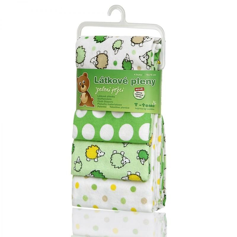 T-TOMI - Látkové pleny, green hedgehogs / zelení ježci