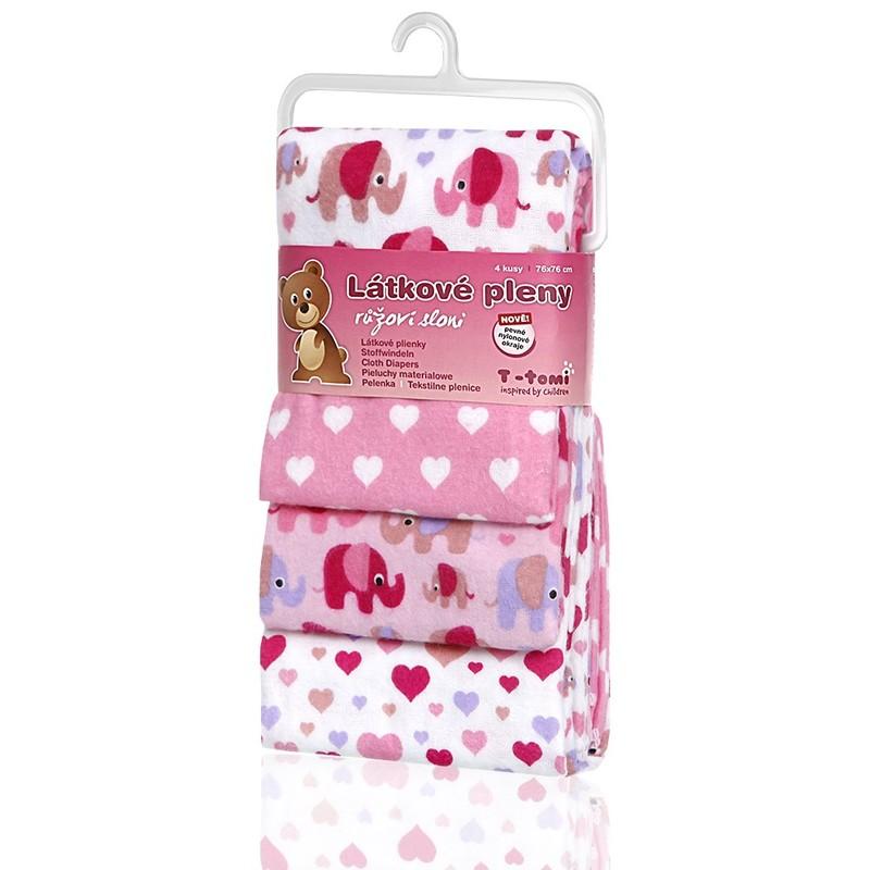 T-TOMI - Látkové pleny, pink elephants / růžoví sloni