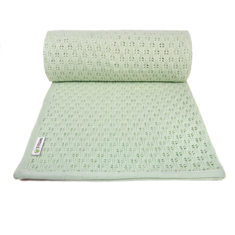 T-TOMI - Dětská pletená deka summer, mint / mátová
