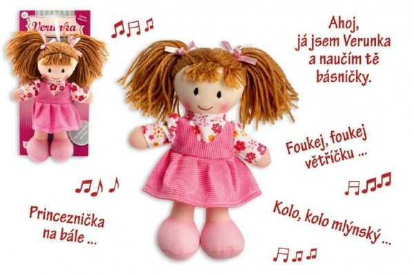 TEDDIES - Panenka Verunka hadrová plyš 20cm česky mluvící na kartě