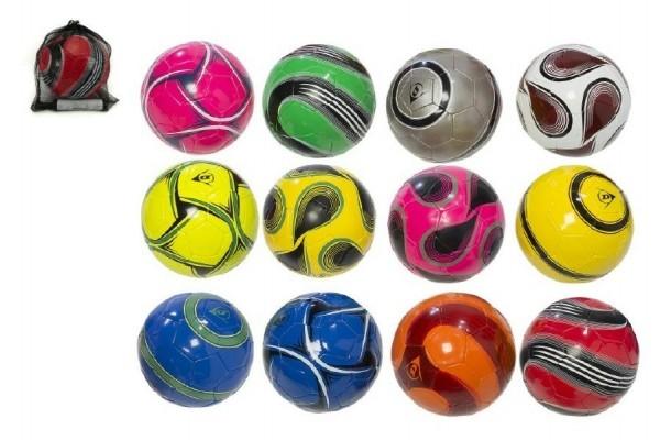 TEDDIES - Míč fotbalový s pumpičkou 22cm Dunlop vel. 5 šitá kůže asst mix barev v síťce
