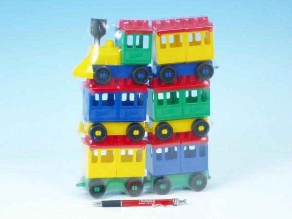 TEDDIES - Stavebnice LORI 8 vlak + 5 vagónků plast v sáčku 20x26x5cm