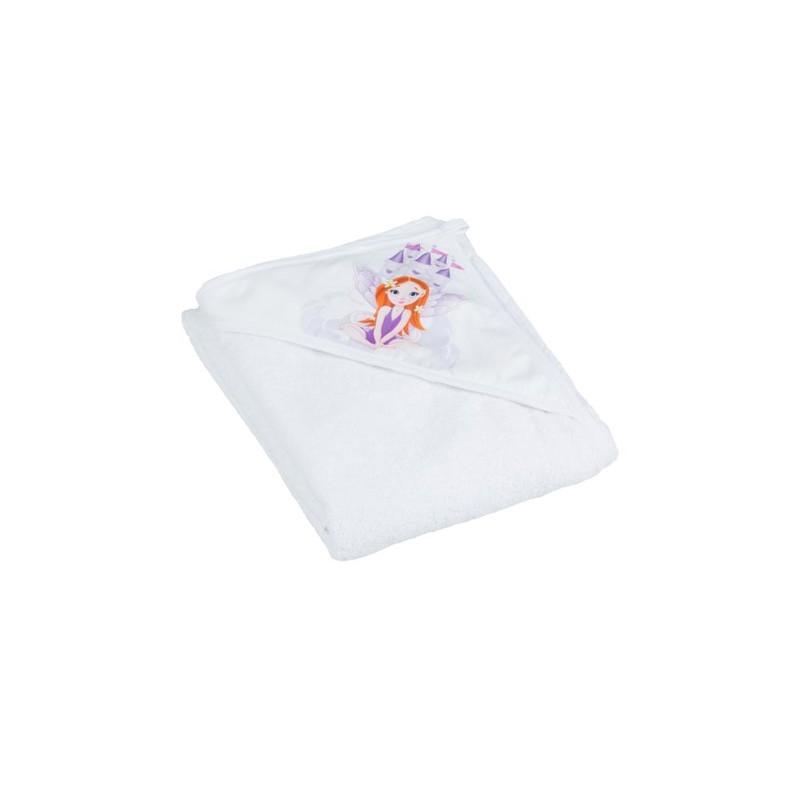 TEGA BABY - Dětská osuška s kapucí Little princess 100x100, bílá