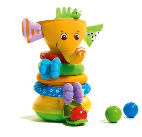 TINY LOVE - Skládací pyramida s hudbou a loptičkamiMusical Stack & Ball Game - Elephant