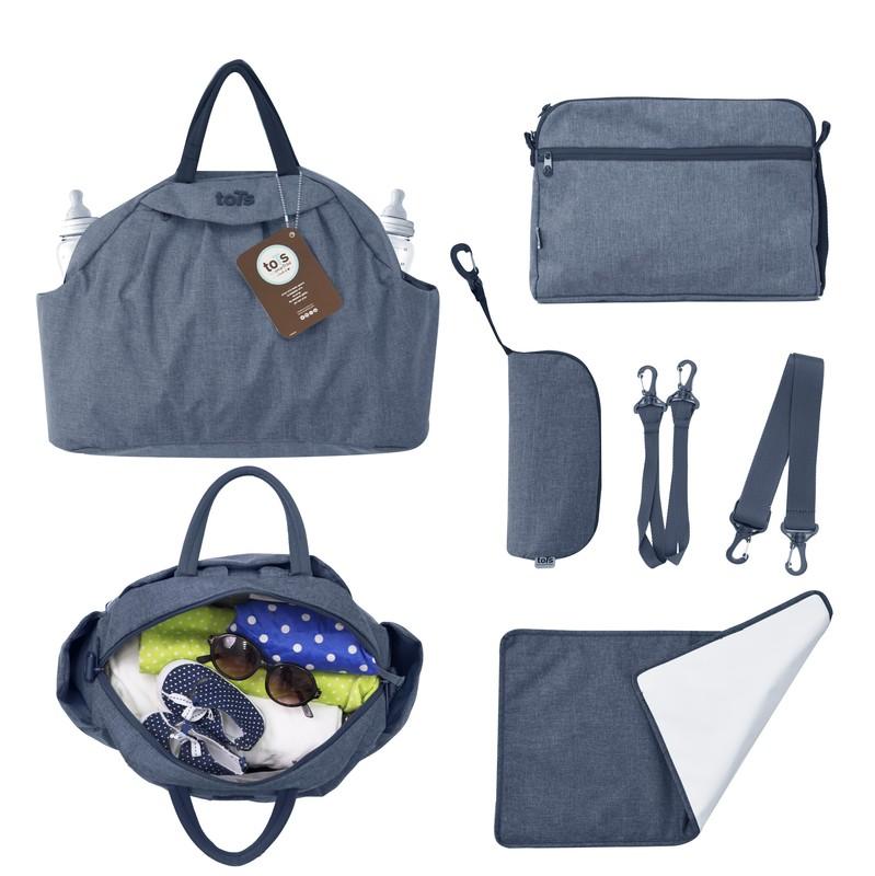 TOTS - Přebalovací taška Chic, blue melange