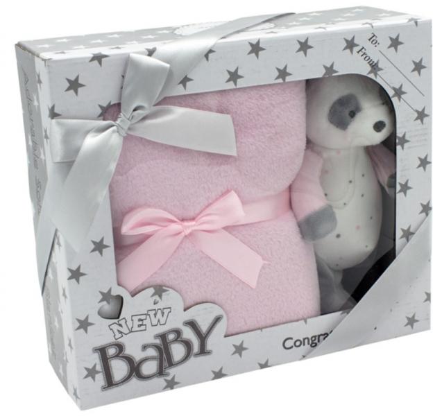 TULILO - Dětská sada deka + plyšová hračka Medvídek Panda - růžová